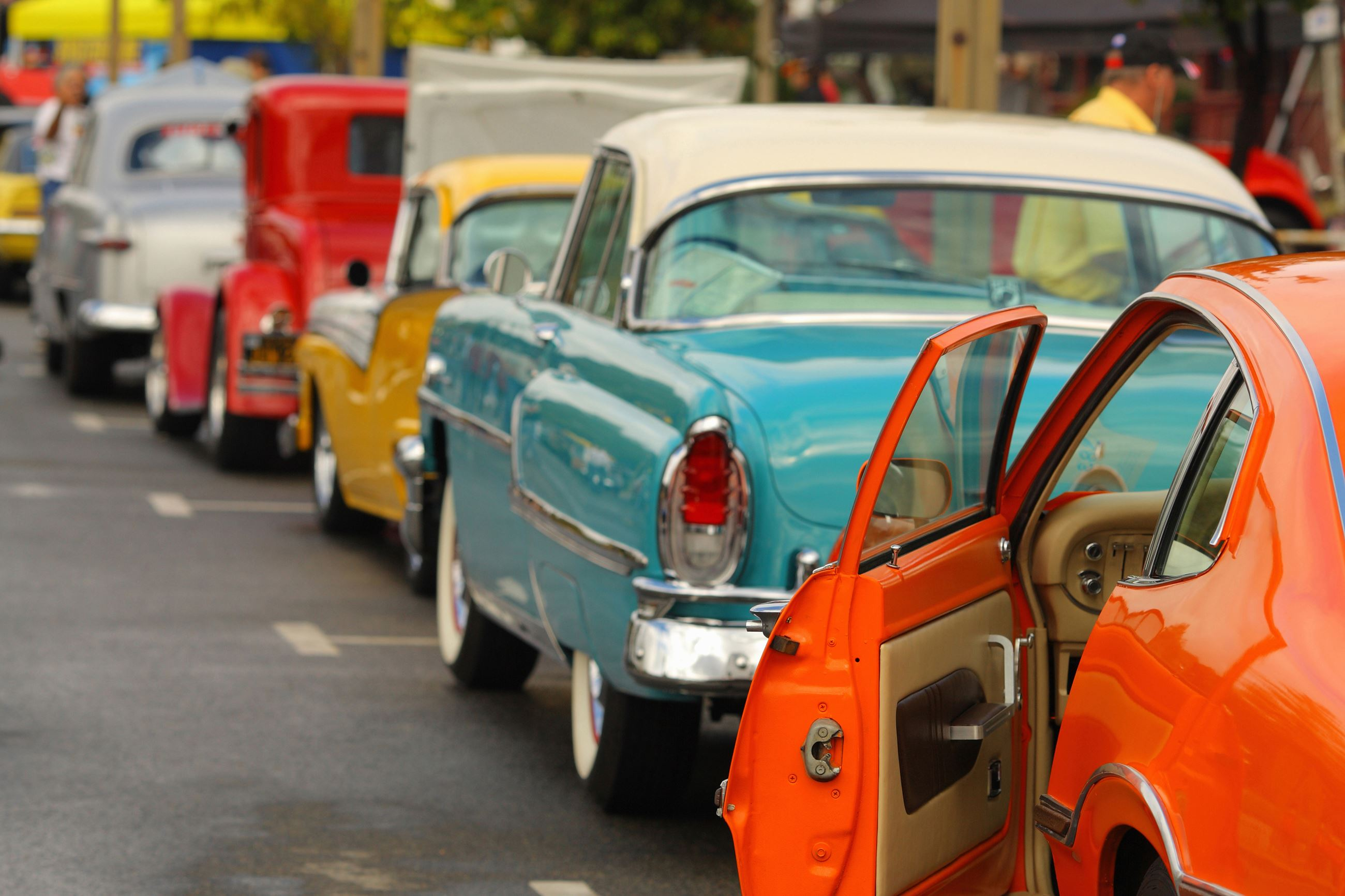 Line up of vintage cars